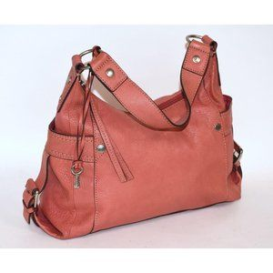 FOSSIL 'CASTILLE' E/W Corral Pink Pebbled Leather